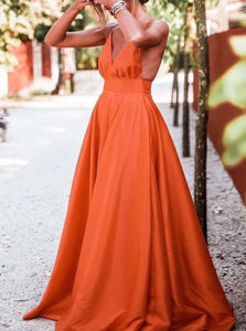 A Line Orange Satin Prom Dresses with Pleats