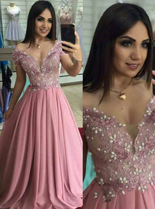 Chiffon A Line Off The Shoulder Appliques Prom Dresses with Beadings