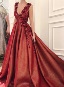 Red Appliques Satin Ball Gown Prom Dresses with Sweep Train