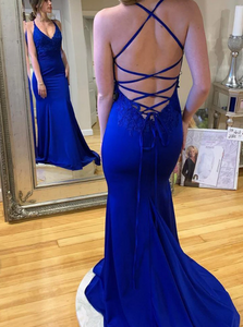 Satin Sleeveless Sweep Train Lace Up Prom Dresses
