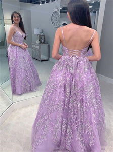 Spaghetti Straps Lilac Tulle Appliques Lace Up Prom Dresses