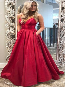 A Line V Neck Satin Red Prom Dresses with Pockets