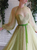 A Line Tulle Long Sleeves Beadings Scoop Prom Dress with Belt