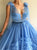 Tulle Deep V Neck Blue Sleeveless Layers Prom Dresses