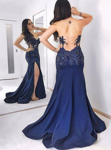 Mermaid Sweetheart Appliques Sweep Train Satin Open Back Prom Dresses