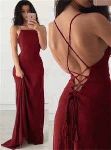 Burgundy A Line Satin Criss Cross Square Neck Prom Dresses