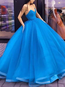 Ball Gown Organza Sleeveless Blue Prom Dresses