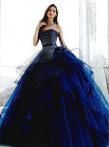 Tulle Ball Gowns Strapless Prom Dresses With Rhinestones