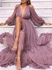 Mermaid Long Sleeves Purple Prom Dresses with Slit