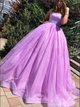 Sweep Train Lilac Spaghetti Straps Tulle Prom Dresses