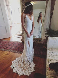 Mermaid V Neck Ivory Lace Wedding Dresses