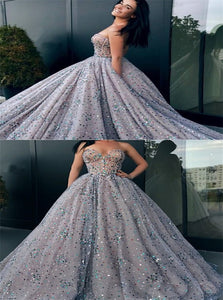 Ball Gown Sweetheart Grey Tulle Sequins Sleeveless Prom Dresses