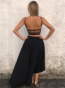 A Line High Low Sleeveless Backless Black Prom Dresses