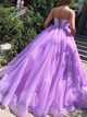 Ball Gown Lilac Lace Up Prom Dresses with Pleats