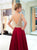Burgundy Floor Length Open Back Prom Dresses