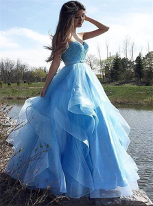 A Line Tulle Blue Floor Legnth Prom Dresses with Ruffles