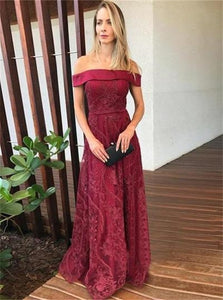 Dark Red Lace Off the Shoulder Prom Dresses