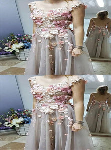 A Line Scoop Floral Applique Tulle Prom Dresses Floor Length