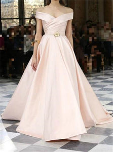 Pink Satin Off Shoulder A Line Prom Dresses