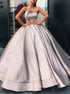 Glitter Strapless Ball Gown Satin Pleats Prom Dresses LBQ1678