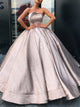 Glitter Strapless Ball Gown Satin Pleats Prom Dresses