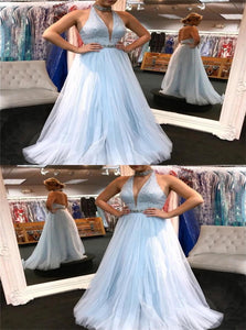 A Line Halter Tulle Sequins and Beadings Floor Length Prom Dresses