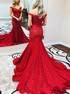 Red Lace Mermaid Off the Shoulder Appliques Prom Dresses LBQ2748