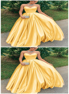 A Line Yellow Satin Sweetheart Prom Dresses with Pleats