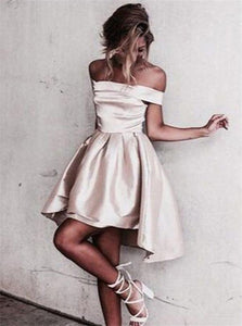 A Line Satin Off Shoulder Short Homecoming Dresses