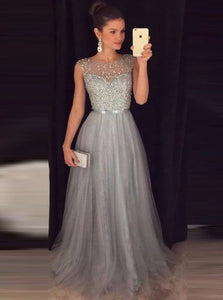 A Line Scoop Beadings Tulle Silver Prom Dresses
