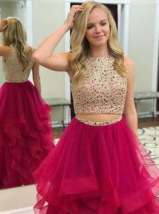 Two Piece Tulle A Line Scoop Lace Prom Dresses with Beadings