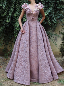 Ball Gown V Neck Satin Prom Dresses with Appliques