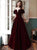 Burgundy Short Sleeves Sweep Train Prom Dresses with Pleats