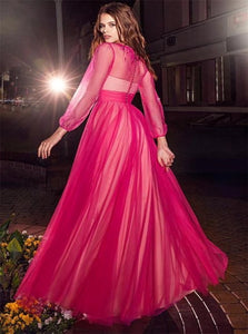 A Line Bateau Long Sleeves Beadings Tulle Pink Prom Dresses
