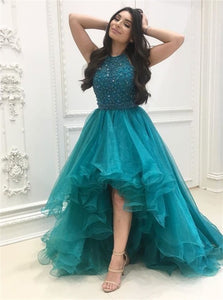 Halter High Low Organza with Beadings Prom Dresses
