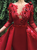 A Line Red Scoop Tulle Long Sleeves Appliques Prom Dresses
