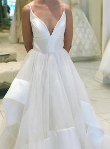 A Line V Neck White Organza Prom Dress with Ruffles