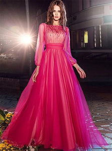 A Line Bateau Long Sleeves Beadings Tulle Floor Length Prom Dresses