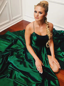 Green Spaghetti Straps Criss Cross Straps Satin Prom Dresses with Slit