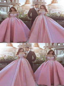 Pink Off the Shoulder Ball Gown Appliques Satin Prom Dresses