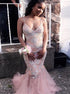 Rhinestones Pink Mermaid Spaghetti Straps V Neck Tulle Prom Dress LBQ1679