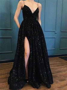 A Line Spaghetti Straps Black Prom Dresses with Split