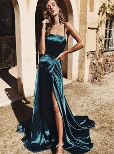 Straps Dark Green Satin Sweep Train Prom Dresses with Slit