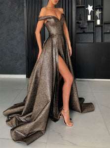 A Line Champagne Sequins Prom Dresses with Sweep Train