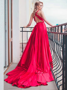 Chic Red V Neck A Line Satin Pleats Criss Cross Prom Dresses with Slit