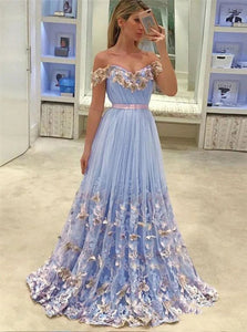 Light Blue Lace Appliqued Off the Shoulder Prom Dresses