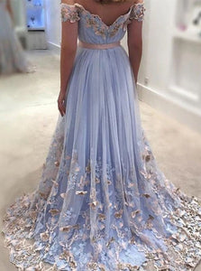 A Line Tulle Sweep Train Prom Dresses