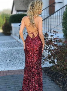 Mermaid Spaghetti Straps Criss Cross Red Sweep Train Prom Dresses