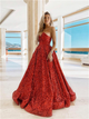 A Line Red Sweetheart Appliques Satin Prom Dresses