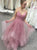 A Line Blush Pink Organza Floor Length Prom Dresses